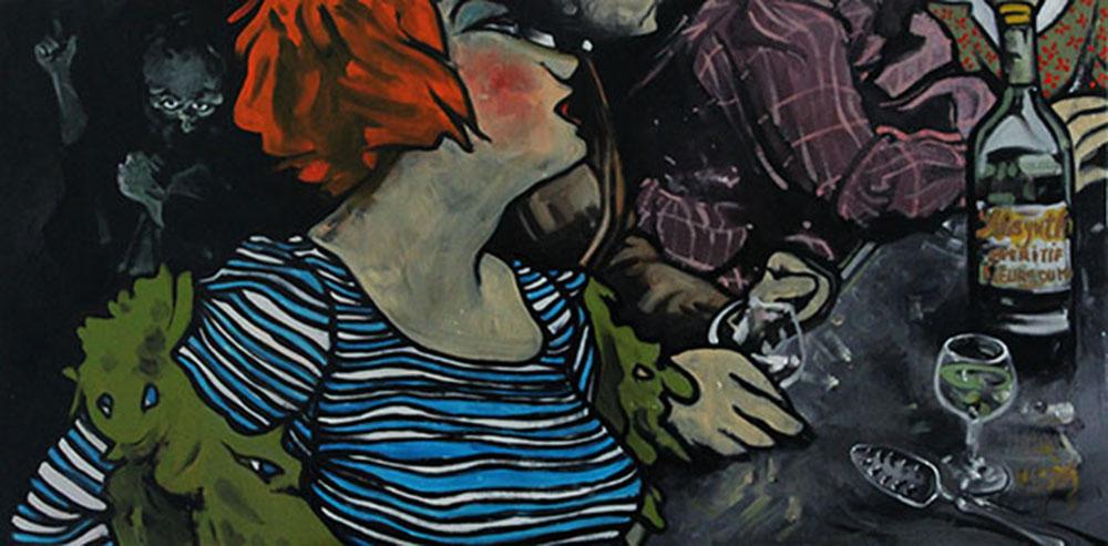 « Les Fleurs du Mal », huile sur bois, 50x100 cm