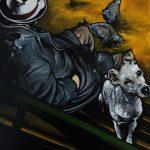 « Les Pigeons », huile sur toile, 70x100 cm (vendu)