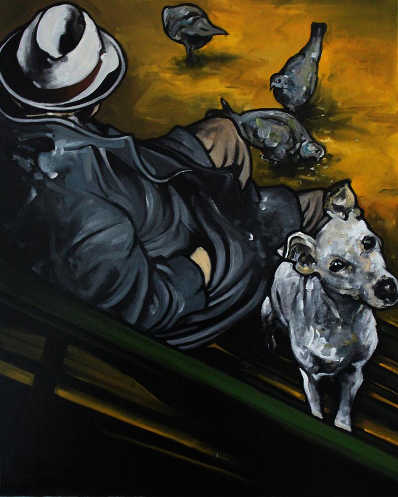 « Les Pigeons », huile sur toile, 70x100 cm