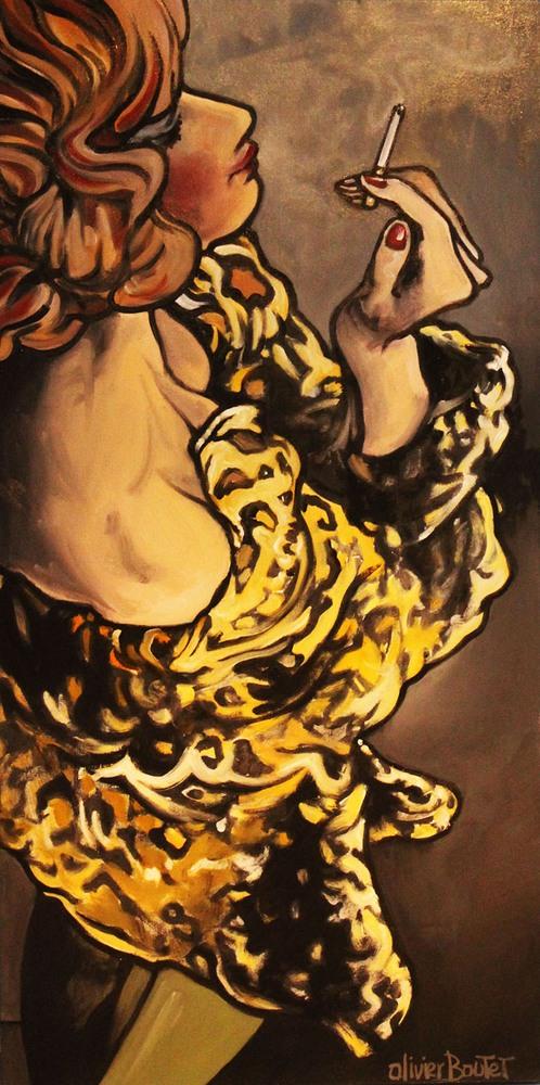 « Sous le Réverbère », huile sur toile, 50x100 cm