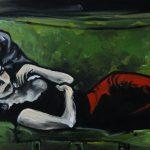 « Sur le Canapé », huile sur bois, 28x70 cm (vendu)