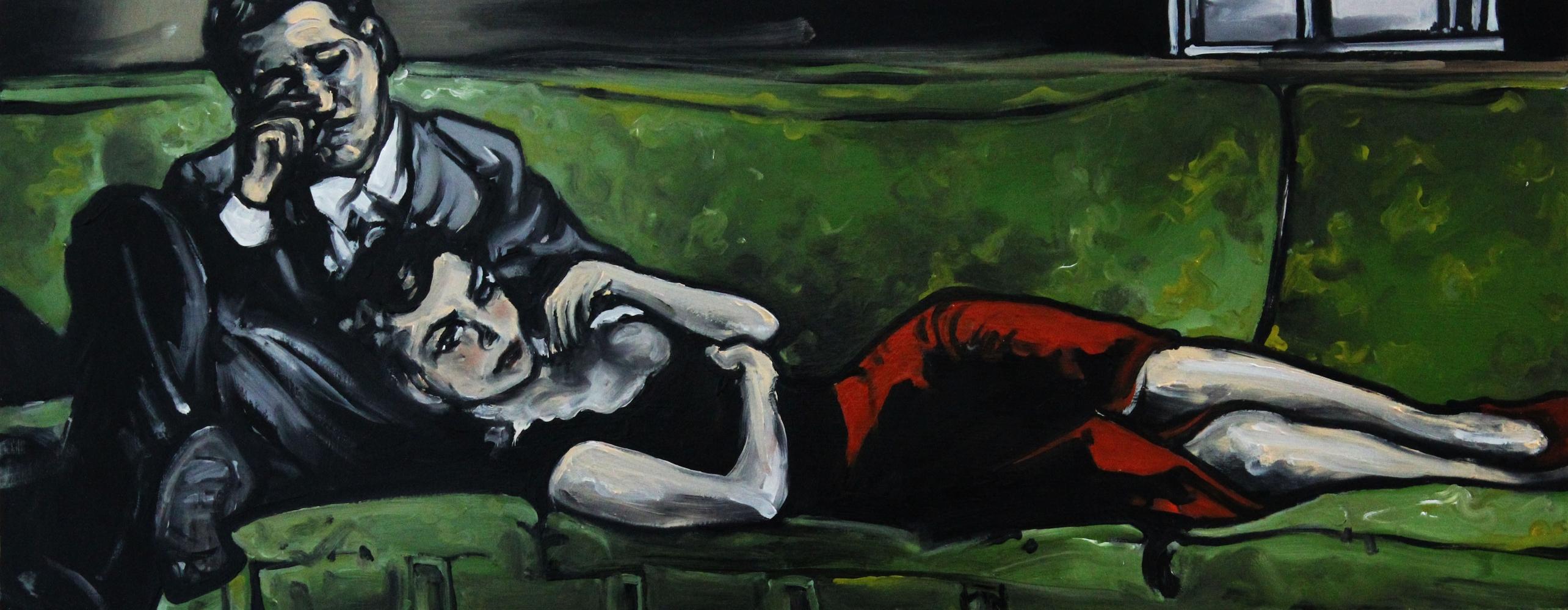 « Sur le Canapé », huile sur bois, 28x70 cm