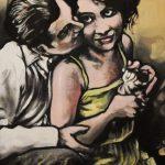 « Un Couple heureux », huile sur bois, 32x50 cm