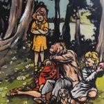 « Un Dimanche à la Campagne », huile sur bois, 37x44 cm