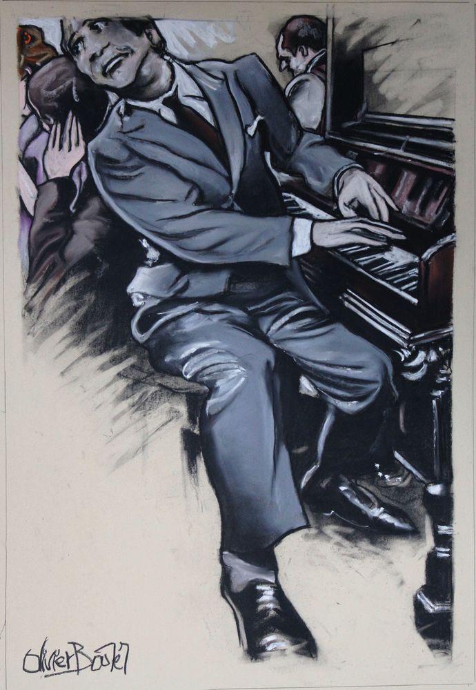 « Un Pianiste heureux », pastel sec, 75x65 cm